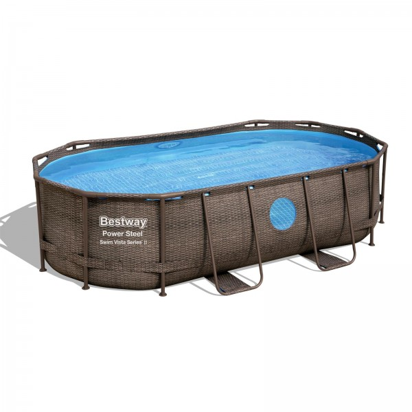 Power Steel™ Swim Vista Series™ Frame Pool 427 x 250 x 100 cm, Komplett-Set mit Filterpumpe, oval, b